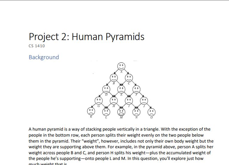 Solved: Project 2: Human Pyramids CS 1410 Background A Hum