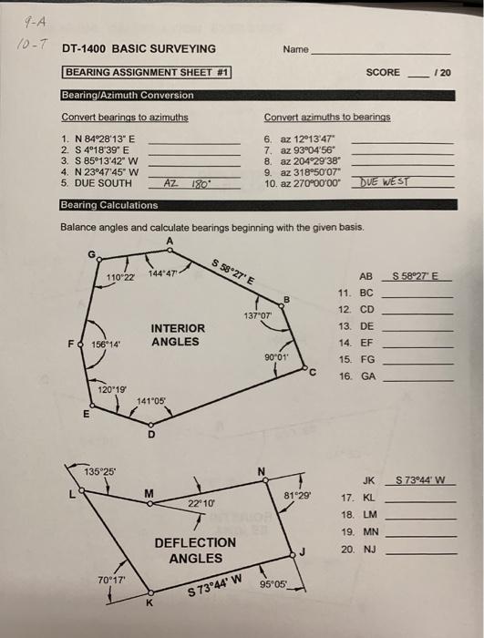 9 A 0 7 Dt 1400 Basic Surveying Name