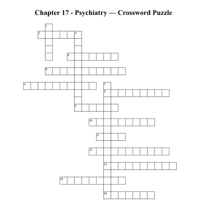 Solved Chapter 17 Psychiatry Crossword Puzzle Chapter Chegg Com