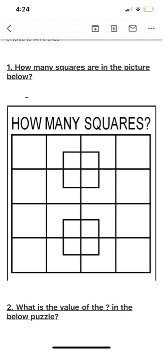 Solved 4 24 1 How Many Squares Are In The Picture Below Chegg Com