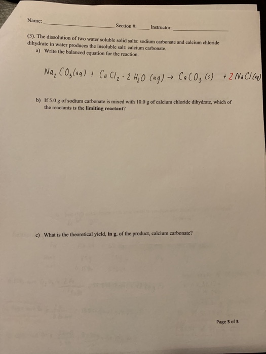 Solved: Name: Section #: Instructor: (3). The Dissolution | Chegg.com