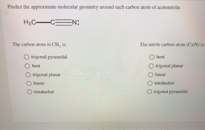 Solved: Predict The Approximate Molecular Geometry Around ...
