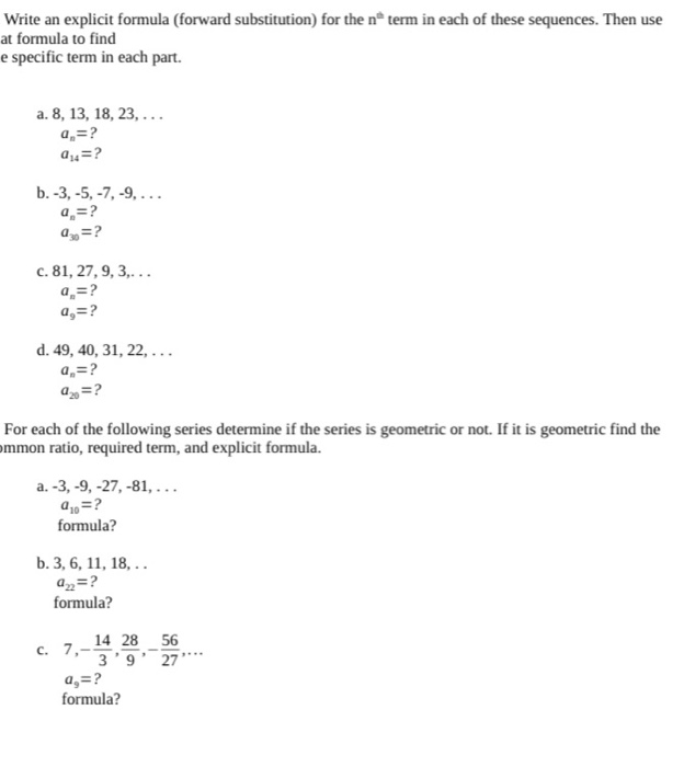 solved write an explicit formula forward substitution f