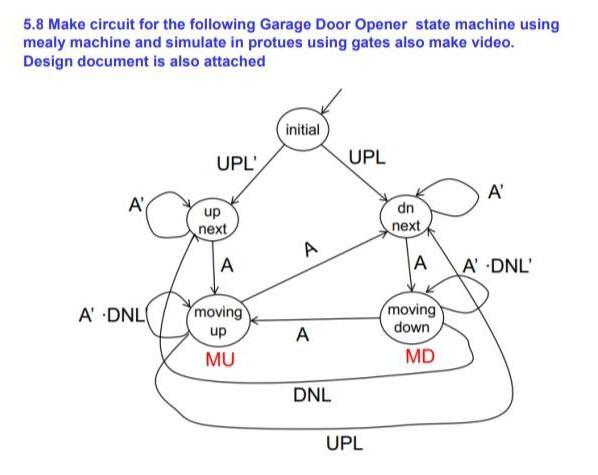 5 8 Make Circuit For The Following Garage Door Opener Chegg Com