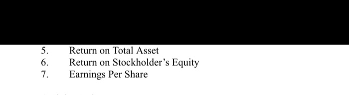 Return on Total Asset Return on Stockholders Equity Earnings Per Share