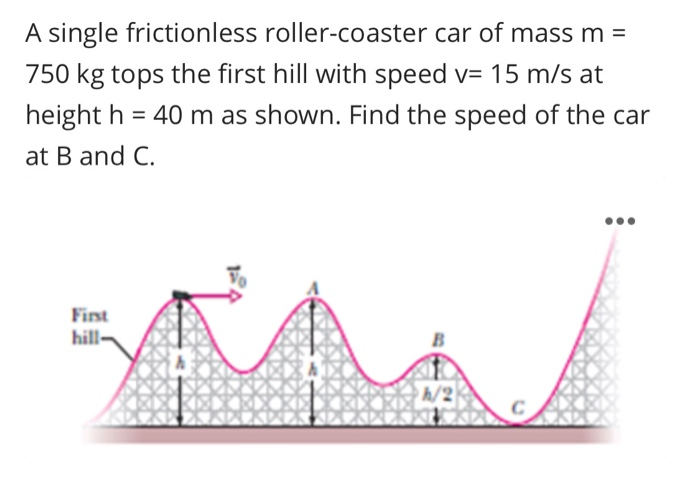 Solved A Single Frictionless Roller Coaster Car Of Mass M Chegg Com