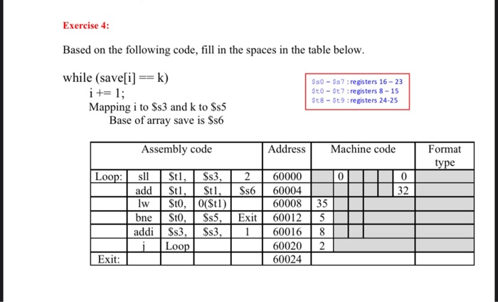 Exercise 4: Based on the following code, fill in the spaces in the table below. while (save[i] == k) i += 1; Mapping i to $s3