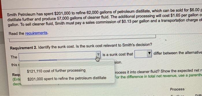 Solved: Smith Petroleum Has Spent $201,000 To Refine 62,00