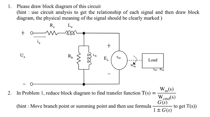 Solved 1 Please Draw Block Diagram Of This Circuit Hint