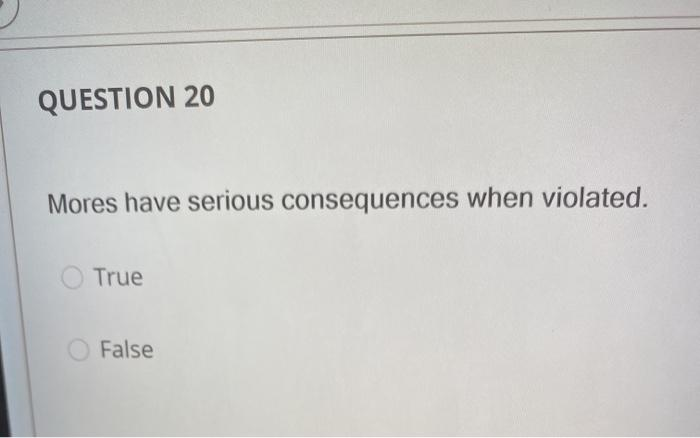 QUESTION 20 Mores have serious consequences when violated. True False