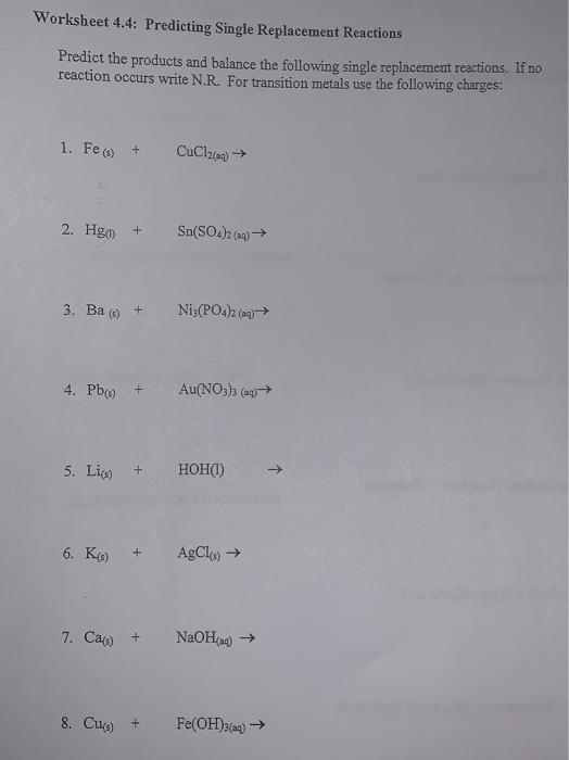Worksheet 4 4 Predicting Single Replacement React Chegg Com