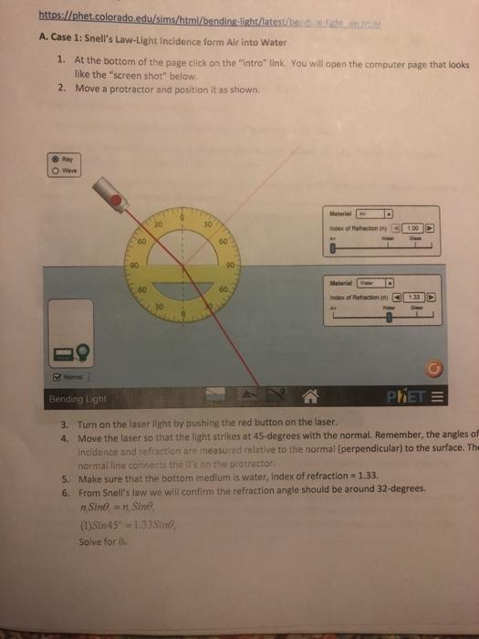Solved: Https://phet.colorado.edu/sims/html/bending-light ...