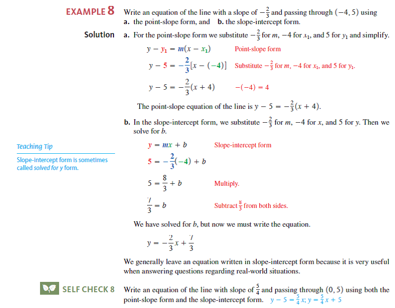 point slope form real life example  Solved: Use point-slope form to write the equation of the ...