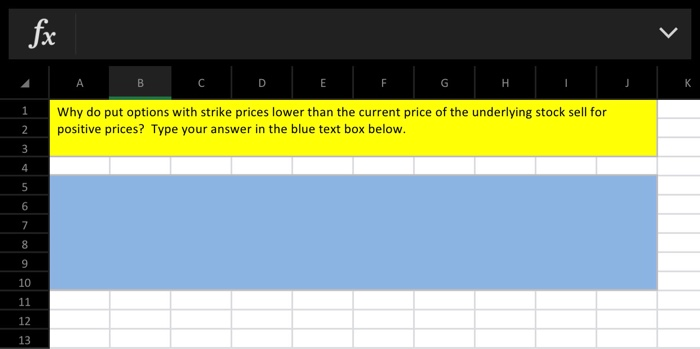 Why do put options with strike prices lower than the current price of the underlying stock sell for positive prices? Type you