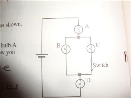 Assuming all bulbs are identical, rank the brightness of the bulbs