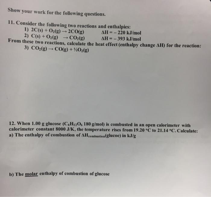 Solved: CHEM 101 Worksheet, Chapter 6: Thermochemistry Mul ...