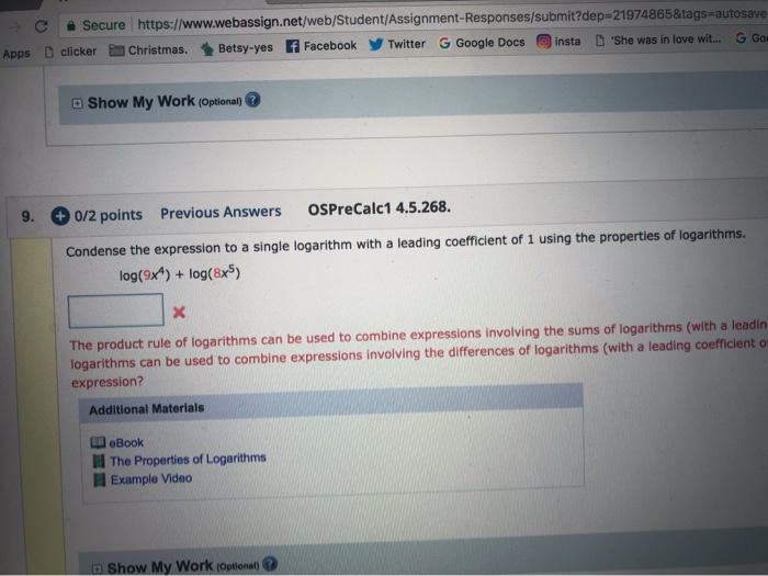 Solved: D C Secure Https://www webassign net/web/Student/A