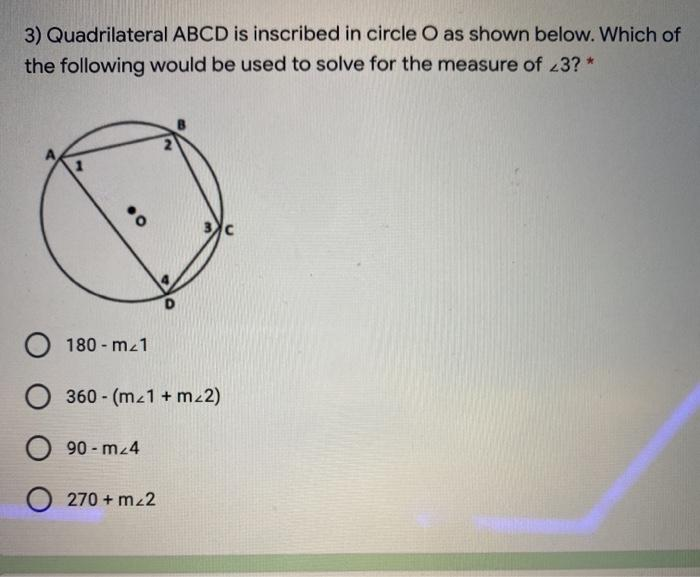 3) Quadrilateral ABCD Is Inscribed In Circle O As ...
