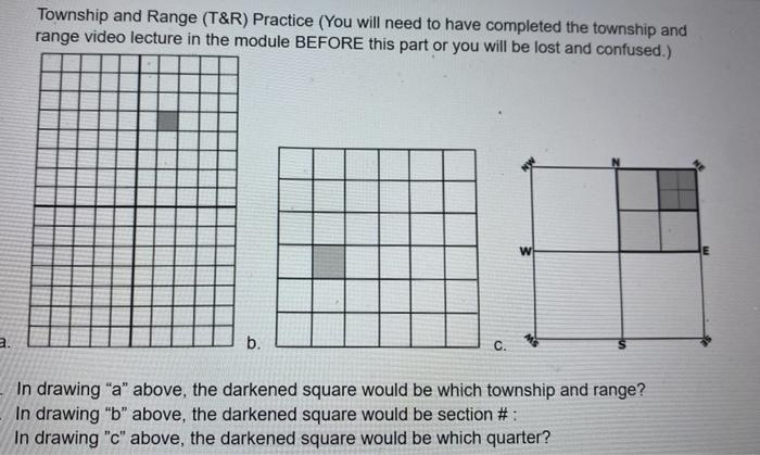 Township and Range (T&R) Practice (You will need to have completed the township and range video lecture in the module BEFORE