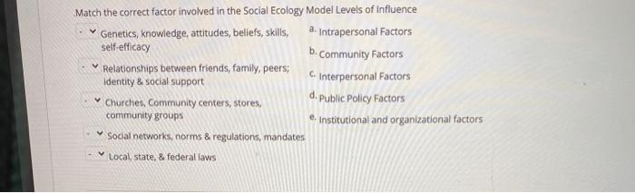 Match the correct factor involved in the Social Ecology Model Levels of Influence Genetics, knowledge, attitudes, beliefs, sk
