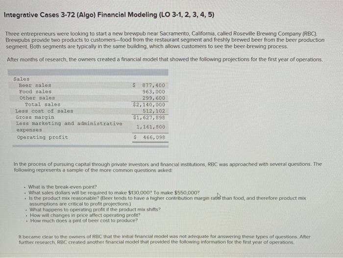 Solved: Integrative Cases 3-72 (Algo) Financial Modeling