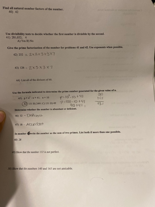 Solved Find All Natural Number Factors Of The Number 40 Chegg Com Notice that here, it is written in exponential form. solved find all natural number factors