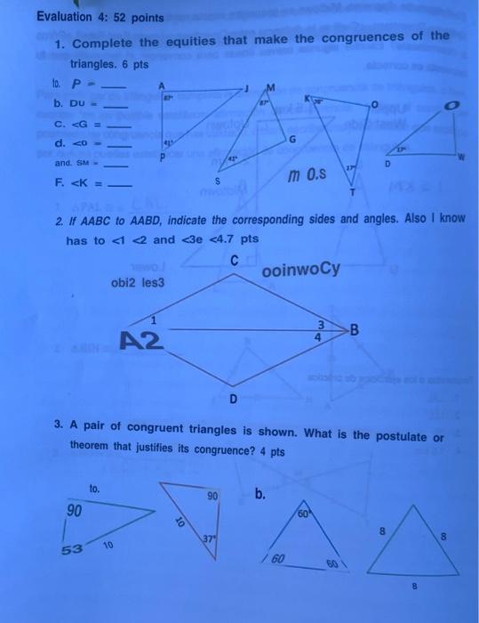 De encuentre triangulos congruentes las parejas identifica si