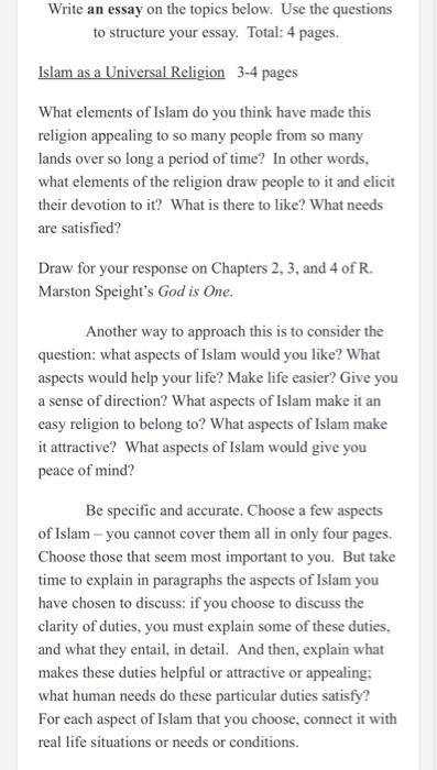 Write An Essay On The Topics Below Use The Questi Chegg Com