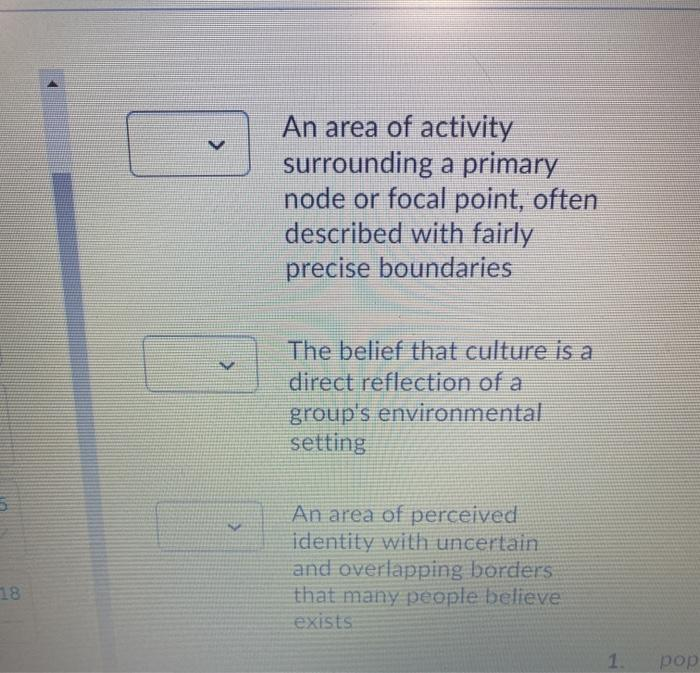 An area of activity surrounding a primary node or focal point, often described with fairly precise boundaries The belief that