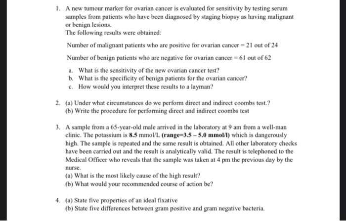 Solved A New Tumour Marker For Ovarian Cancer Is Evaluate Chegg Com