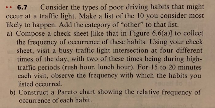 .. 6.7 Consider the types of poor driving habits that might occur at a traffic light. Make a list of the 10 you consider most