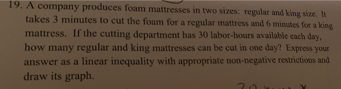 19 A Company Produces Foam Mattresses