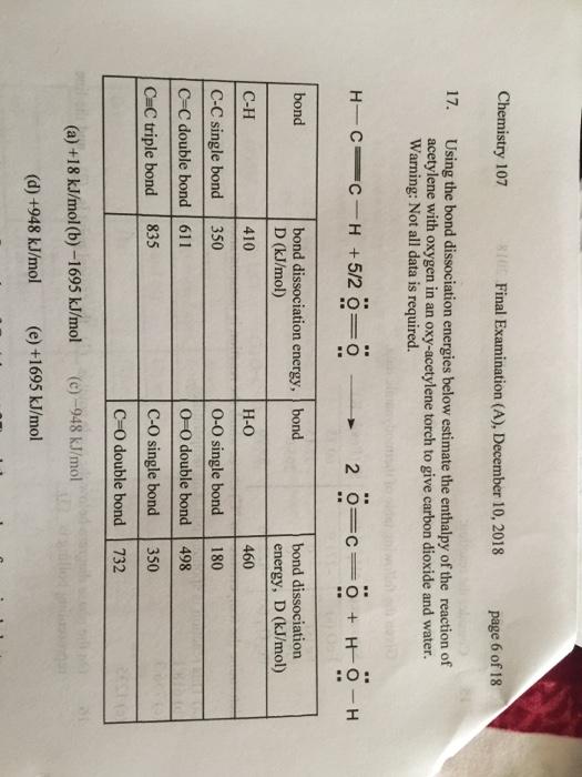 Solved: Chemistry 107 S10 Final Examination (A), December | Chegg.com