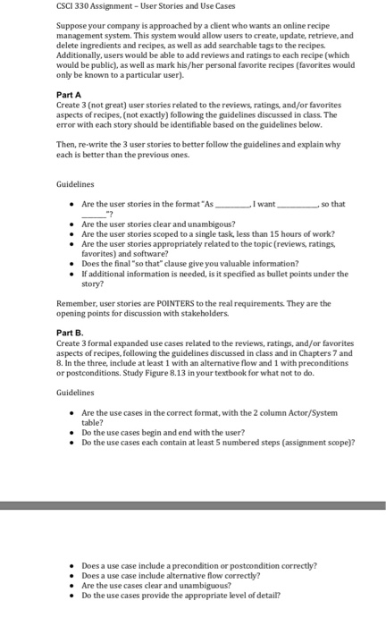 CSCI 330 Assignment - User Stories And Use Cases S