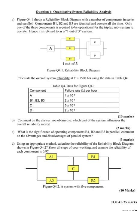 reliability block diagram 2 out of 3 question 4 quantitative system reliability analys chegg com  quantitative system reliability analys