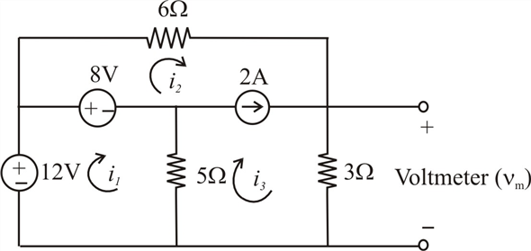 Solved: Determine the value of the voltage measured by the