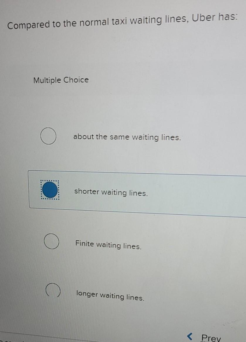 Compared to the normal taxi waiting lines, Uber has: Multiple Choice about the same waiting lines. shorter waiting lines. Fin