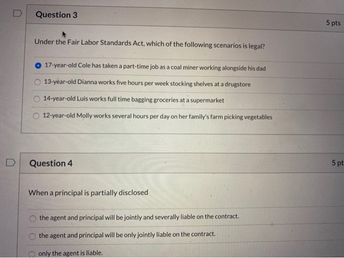 Solved Question 3 5 Pts Under The Fair Labor Standards Ac Chegg Com