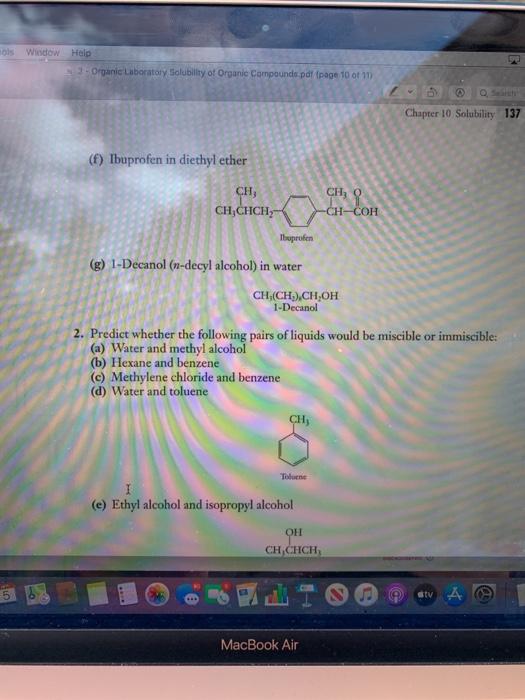 Solved: Sols Window Help 3 - Organic Laboratory Solubility... | Chegg.com