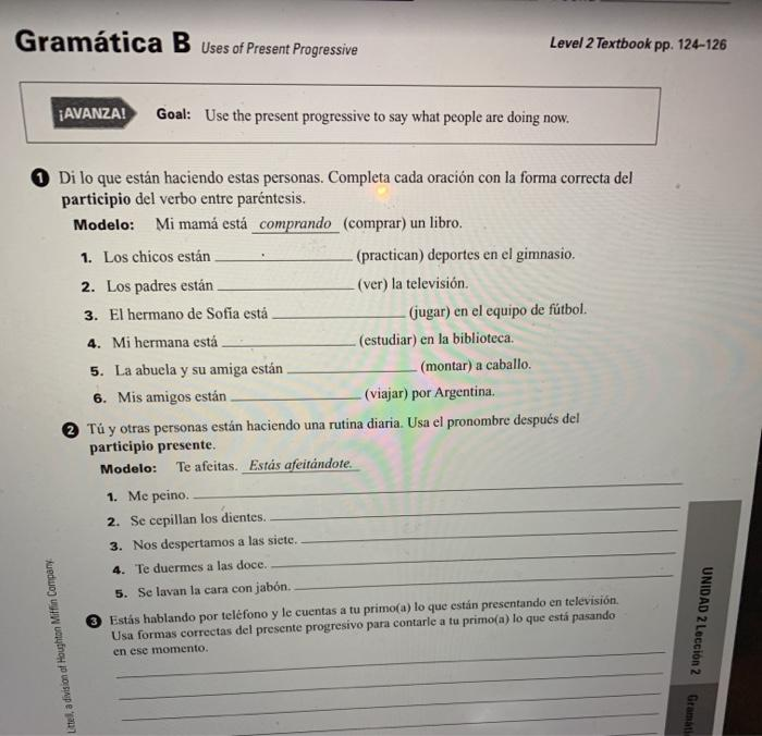 Gramatica B Uses Of Present Progressive Level 2 Te Chegg Com