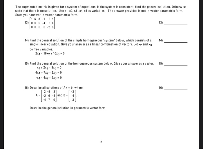 Solved: The Augmented Matrix Is Given For A System Of Equa...   Chegg.com