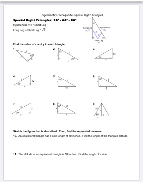 Special Right Triangles 30 60 90 Answers - slideshare