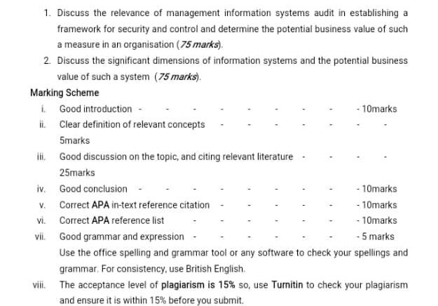1 Discuss The Relevance Of Management Information Chegg Com