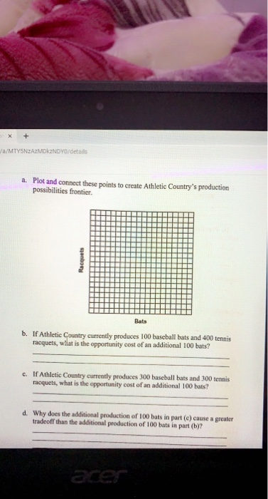 X + Ja/MTYSNzAzMDINDY0/details a. Plot and connect these points to create Athletic Countrys production possibilities frontie