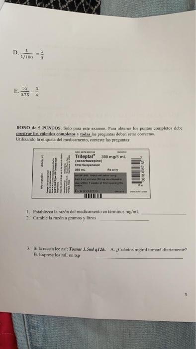 Solved D 7100 Bono De 5 Puntos Solo Para Este Examen P Chegg Com