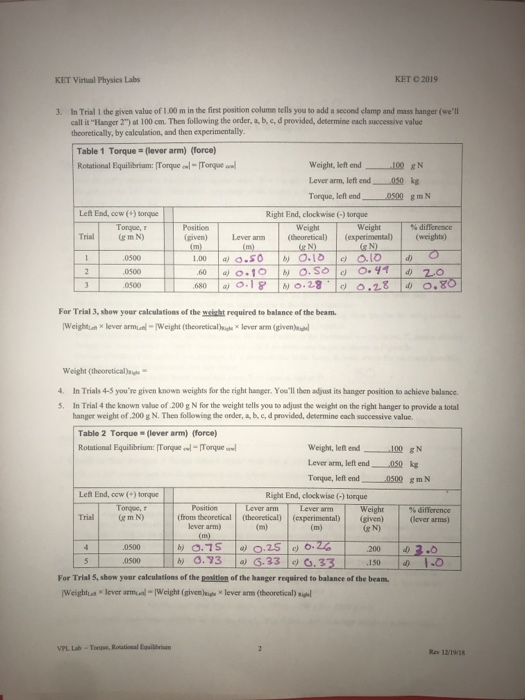 Ket Virtual Physics Labs Ket 2019 3 In Trial 1 The Chegg Com