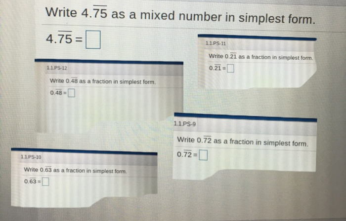 solved write 475 as a mixed number in simplest form 47