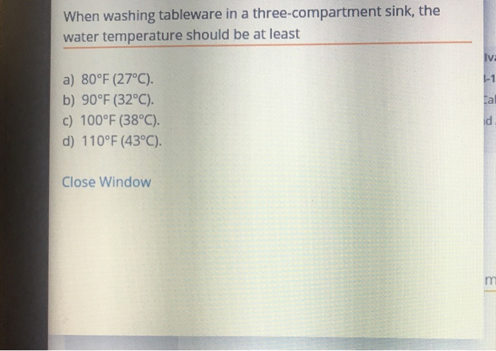 three compartment sink water temp