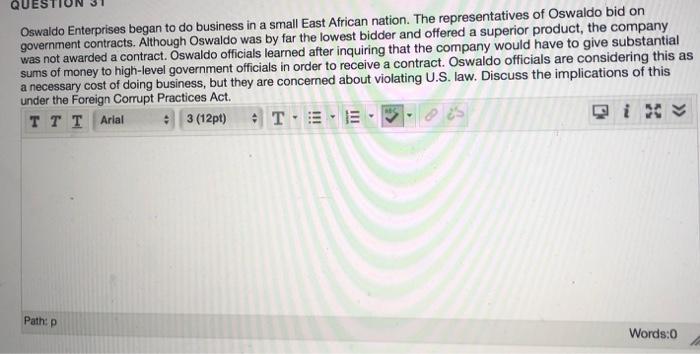 Solved Oswaldo Enterprises Began To Do Business In A Smal Chegg Com