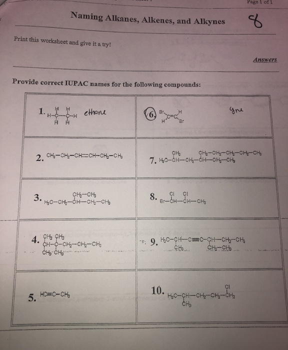 Solved: Page 1 Of 1 Naming Alkanes, Alkenes, And Alkynes P ...